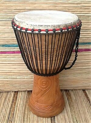 Genuine African 13  Djembe Drum With 2 Free Percussion Instruments • 95£