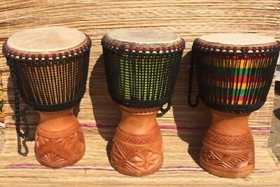 African Professional 13  Djembe Drum, With Cow Skin Head. • 149£
