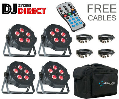 4X ADJ MEGA TRI PAR PROFILE PLUS LED Colour Mixing Cans + Bag + Remote + DMX's • 289£