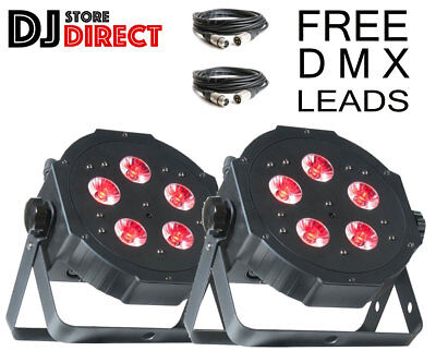 2X ADJ MEGA TRIPAR PROFILE PLUS LED Colour PAR CAN Up Light Bundle + 2X 3M DMX • 134.99£