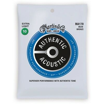Martin MA170 Authentic Acoustic Guitar Strings, 80/20 Bronze Extra Light (10-47)