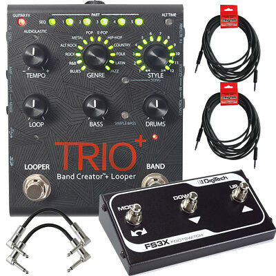 DigiTech Trio+ Band Creator & Looper Guitar Pedal W/ FS3X, Cables & Power Supply • 300.06£