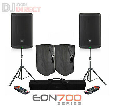2X JBL EON 615 15  1000W 2 Way Active Powered DJ PA Speakers Stands FREE Covers • 939£