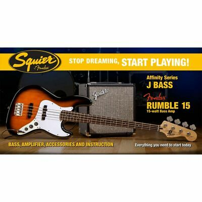 Squier Set Affinity Jazz Bass Bsb / Fender Rumble 15 Amp + Other Accessories • 326.21£