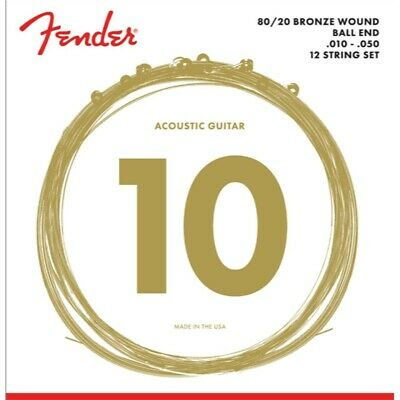 Fender 70-12L 80/20 Bronze 12-string Acoustic Strings, Ball End 010 050 • 10.70£