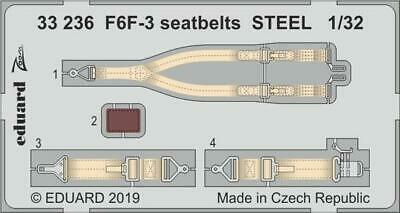 Eduard 1/32 Grumman F6F-3 Hellcat Seatbelts STEEL Zoom Set # 33236 • 5.04£