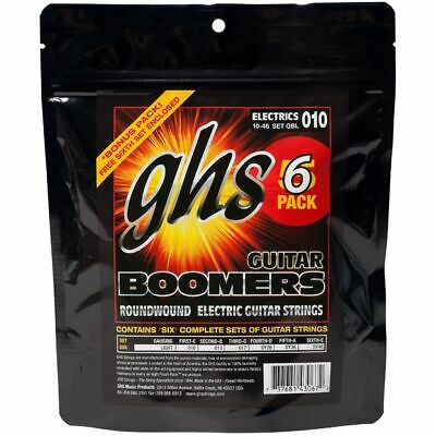 GHS Boomers - Gbl - Electric Guitar String Set, Light 010 046,6-Pack