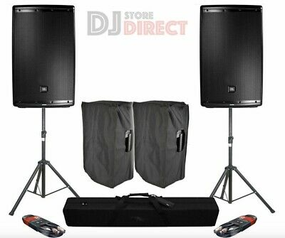 2X JBL EON 612 12  2000W 2 Way Active Powered DJ PA Speakers + Stands + Covers • 839£
