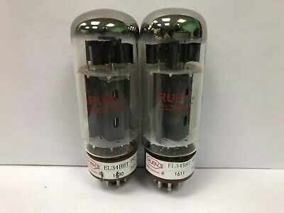 Ruby Tube EL34BHT 6CA7 Pair Of Matched Vacuum Tubes Used & Tested  • 16.09£