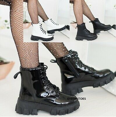 Ladies Womens Chunky Block Sole Lace Up Ankle Boots Zip Icon Retro Punk Goth • 22.99£