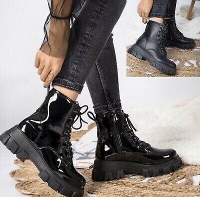 Womens Chunky Block Sole Lace Up Ladies Ankle Zip Icon Retro Punk Goth Boots • 23.90£