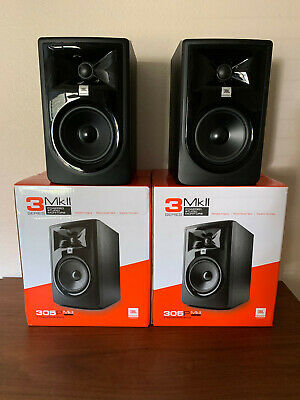 Pair Of JBL Powered 305P MKII Monitors W/ Boxes And Power Cables • 153.86£