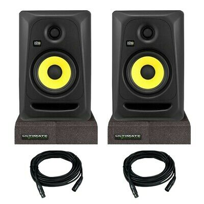 KRK CL5G3 RP5G3 Classic Rokit 5 5'' Powered Monitor Pair +Isolator Pads + Cables • 218.58£