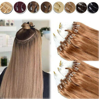 Russian Micro Ring Easy Loop Beads Human Remy Hair Extensions Full Head 150G 8A+ • 85.73£