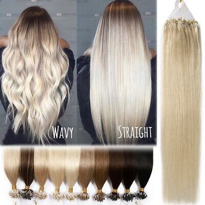 BLONDE Thick 1G Micro Looped Ring Beads Tip Human Hair Extensions Remy Full Head • 85.73£