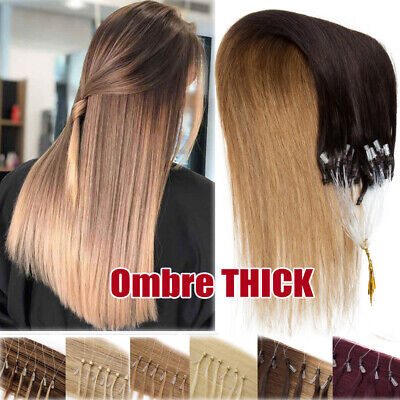 Ombre 150G 150S Micro Ring Loop Human Hair Extensions Remy Beaded Tips Full Head • 72.73£