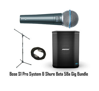 Bose S1 Pro Portable Rechargeable PA System W/ Shure Beta58a + Mic Stand + Cable • 506.51£