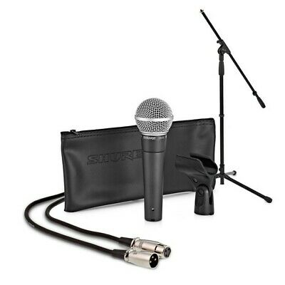 Shure SM58 Wired Microphone Complete Vocal Mic Package With Stand, Cable, Clip • 90.13£
