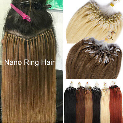 Brunette Thick Micro Loop Ring Beads Human Remy Hair Extensions Full Head Nano F • 85.73£