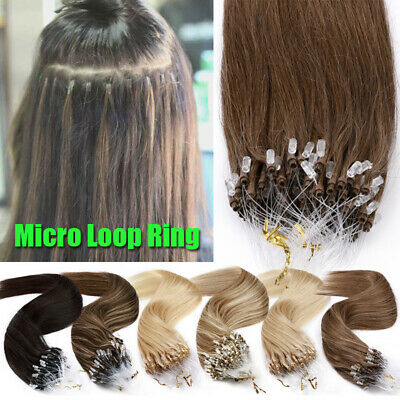 Straight Micro Loop Ring/Link Beads Human Remy Hair Extensions Thick Full Head F • 85.73£
