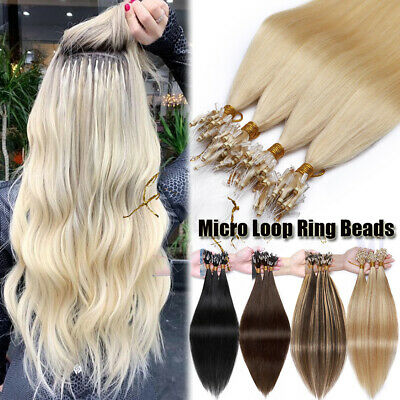 Micro Loop Ring Indian Thick Human Remy Hair Extensions Full Head 150G Ombre 8A+ • 85.73£