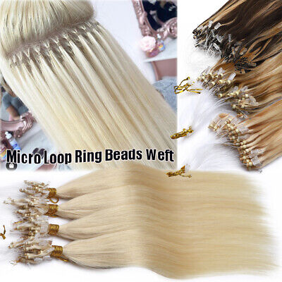 Russian THICK Remy Micro Ring Easy Loop Tip Weft Human Hair Extensions BLONDE UK • 72.85£