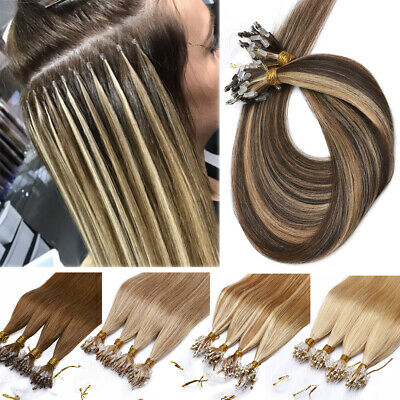Balayage/Ombre Easy Loop Micro Ring Beads Remy Human Hair Extensions Thick Bonds • 72.85£