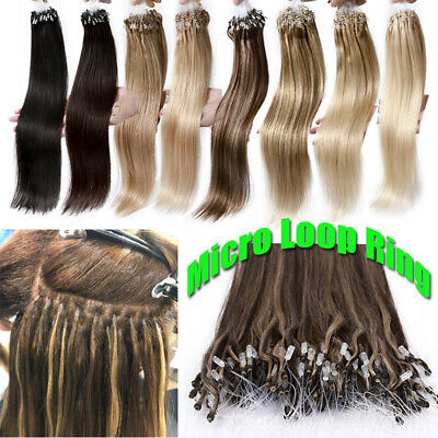 Russian Brownish Remy Micro Ring Easy Loop Human Remy Hair Extensions Thick 150G • 72.73£