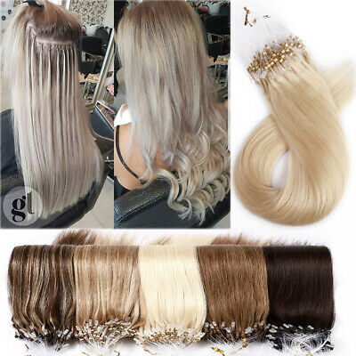 100% Remy Micro Ring Loop Beads Tiped Human Hair Extensions Full Head Thick 150G • 72.85£