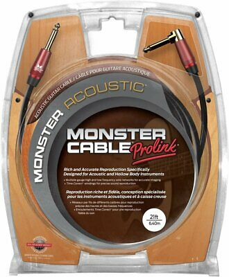 Monster Acoustic Instrument Cable (21 Feet/6.4 Meters) - Angled To Straight... • 70.75£