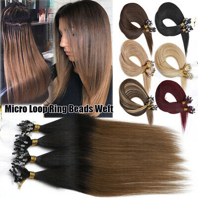 Russian THICK 200G Micro Ring Beads Weft Remy Human Hair Extensions Full Head 8A • 85.73£