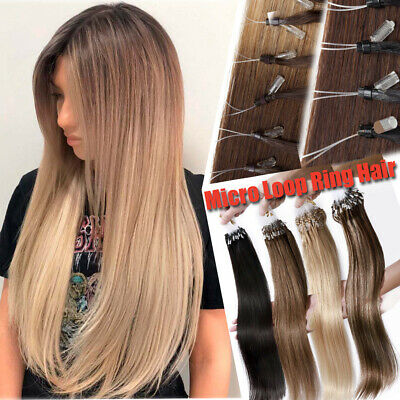 150G Pre Bonded 100% Remy Human Hair Extensions Micro Ring Loop Bead Weft 12-24  • 72.73£