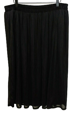 I.N. Studio Woman 2X Plus Black Casual Midi Sheer Lined Skirt Elastic Waist  • 10.20£