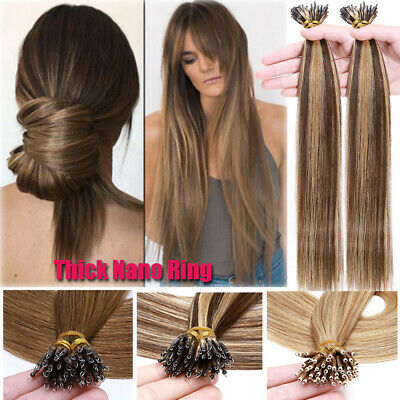Russian THICK Nano Ring Tip Human Remy Hair Extensions Micro Beads 150G Balayage • 109.44£