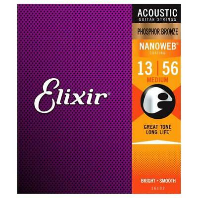 Elixir E16102 Nanoweb Medium Acoustic Guitar Strings, Phosphor Bronze, 13-56 • 21.71£