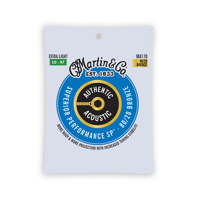 MARTIN&CO MA170 Authentic Acoustic Sp Guitar Strings 10-47, Extra Light, 80/20