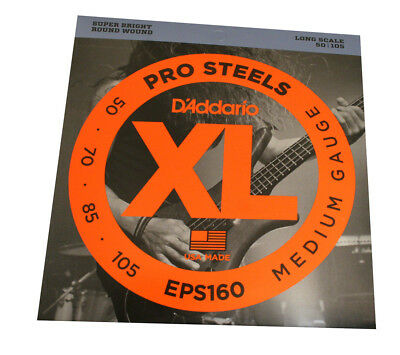 D'Addario ProSteels Stainless Roundwound 50-105 Long Light Bass Strings EPS160 • 13.67£
