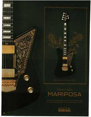 2019 MUSIC MAN Mariposa Deluxe Electric Guitar Imperial Black Magazine Ad • 7.24£