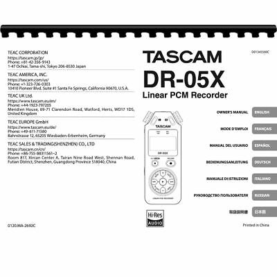 Tascam DR-05X Linear PCM Recorder Owner/ User Manual (Pages: 88)