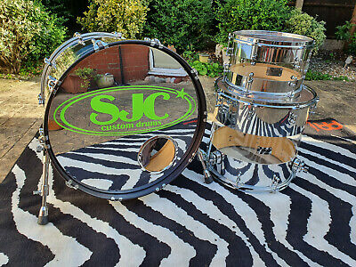 SJC Custom Drums Hybrid Mirror Shell Pack One of a Kind w/ Full Set of Hardcases