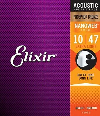 Elixir Phosphor Bronze Nanoweb Light Acoustic Guitar Strings - Extra Light 10-47 • 17.95£