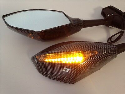 New Turn Signal Integrated Mirrors For Yamaha YZF 600 R1 FZR600 FZ1 FZR CARBON • 22.69£