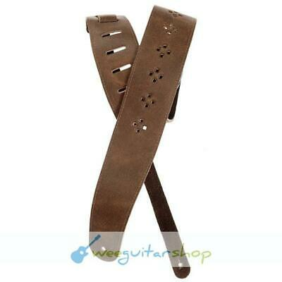 Planet Waves 25PRF02 Dark Tan Vented Leather Guitar Strap 64mm with Diamonds Dar