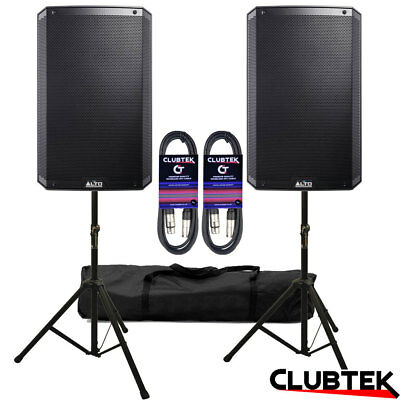 2 X Alto TS315 15  Active 4000W Powered Speakers + FREE Stands Bag Leads UK • 599£
