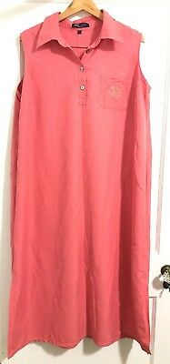 HSZ Studio Women's Dress Plus Size 2X Coral Pink Midi Sleeveless Loose Fit  • 14.56£