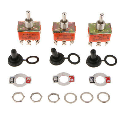 3 PCS Heavy Duty 15A 250V AC DPDT 6pin ON/OFF/ON Rocker Toggle Switch Orange • 4.36£