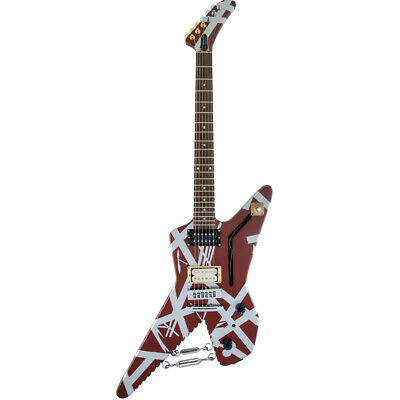 EVH  Striped Series Shark Signature Guitar  - Burgundy With Silver Stripes, New! • 1,179.70£