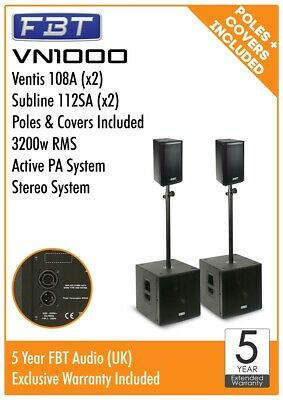 FBT VN1000 Active Stereo PA System Package 3200w RMS Ventis 108A Subline 112A • 3,389£