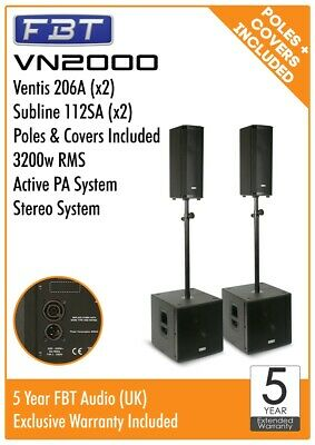 FBT VN2000 Active Stereo PA System Package 3200w RMS Ventis 206A Subline 112A • 3,469£