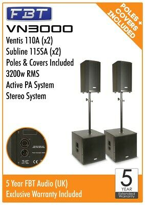 FBT VN3000 Active Stereo PA System Package 3200w RMS Ventis 110A Subline 115SA • 3,979£